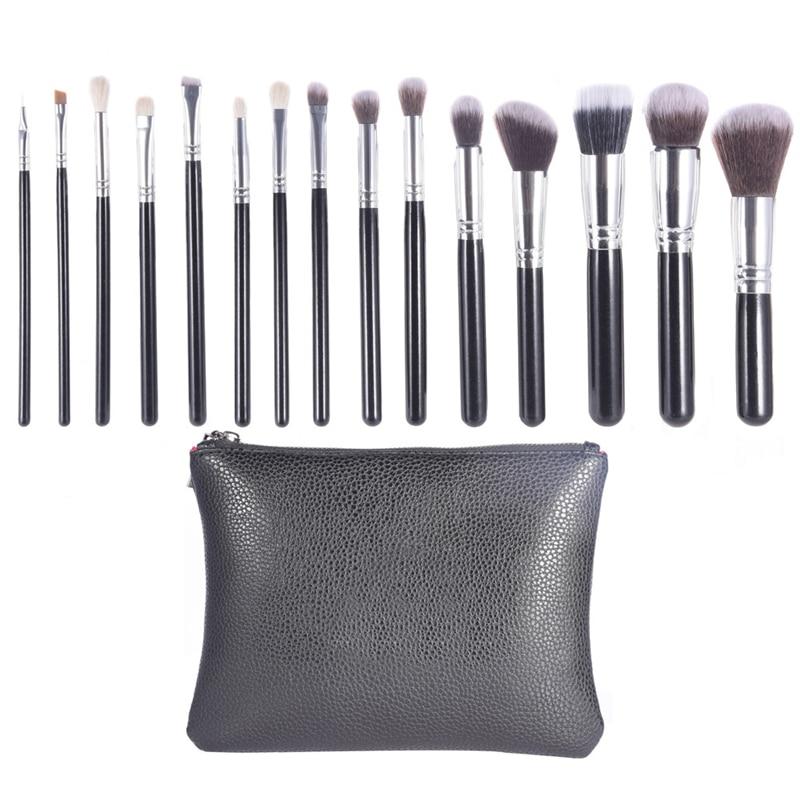 15Pcs Makeup Brushes Kit Professional Blush Blooming Contour Concealer Blending Brush with Makeup Bag Brush Cleaner Case 2017