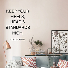 Inspirational Quote Wall Sticker Motivational Keep Your Heels Head & Standards High Quotes Cut Vinyl Q198