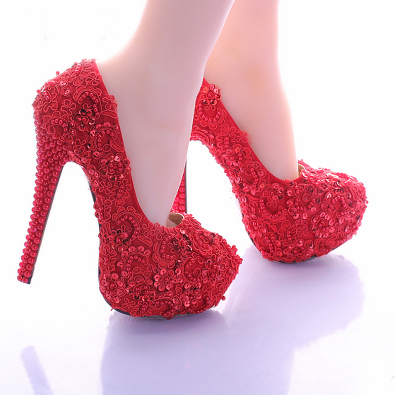 Aliexpress.com : Buy Wedding Shoes for Bride Elegant Red Lace ...