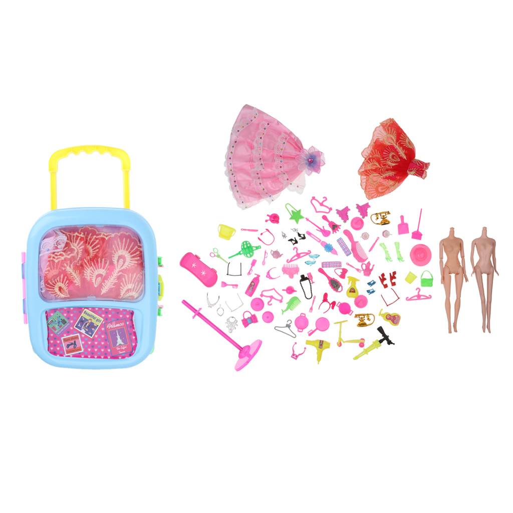 80 PCS Doll Costume Accessories for Barbie Dress, Luggage, Model Body and Other Dress Up Accessories