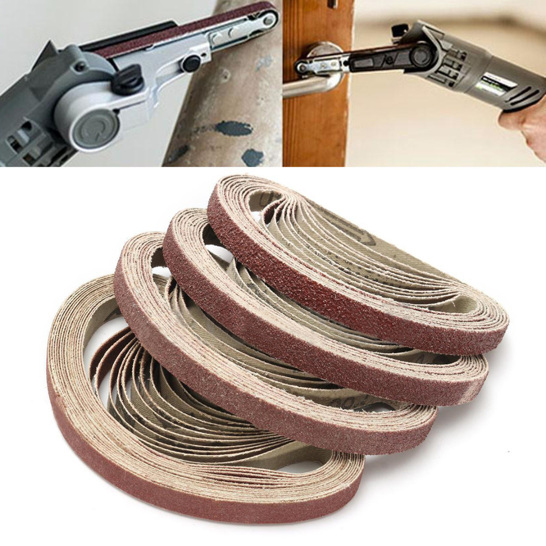 цена 50pcs Aluminum Oxide Sanding Belts Set 40/60/80/120 Grit Sanding Belts Set For Sander Tool 10*330mm