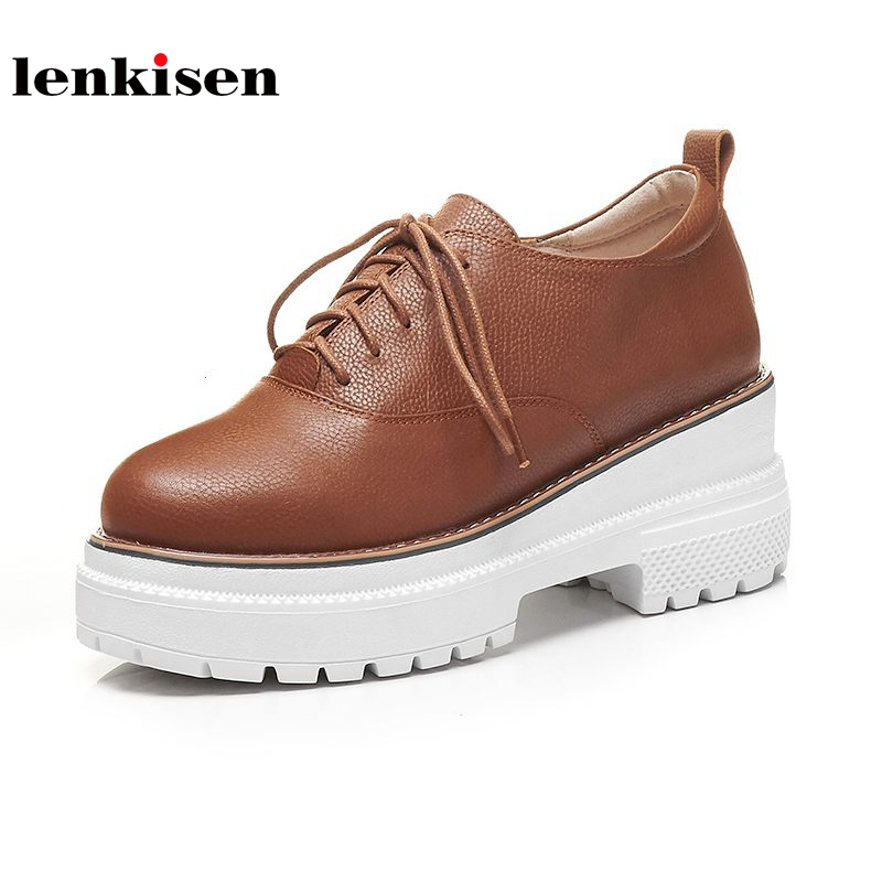 Lenkisen new genuine leather square toe lace up platform solid shoes women thick bottom simple style women vulcanized shoes L9f8 beffery 2018 british style patent leather flat shoes fashion thick bottom platform shoes for women lace up casual shoes a18a309