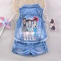 Conjunto de roupas da menina da criança boutique crianças verão menina dos desenhos animados impresso ocasional azul denim gola virada para baixo colete e short 2 pcs 4-6 T