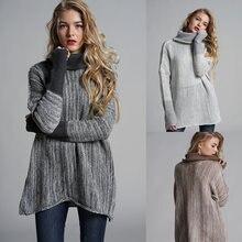 Женский свитер зимний модный теплый большого размера с рукавом