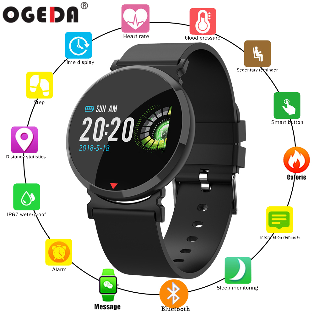 2018 OGEDA Sports Smart Watch Bluetooth heart rate Blood oxygen Monitoring waterproof Fitness tracker Multi function Smart watch