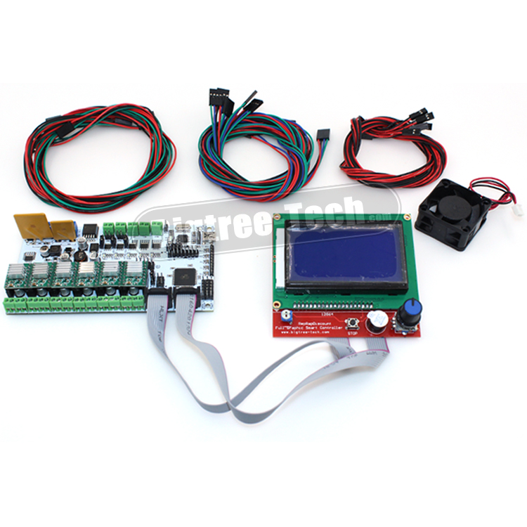 BIQU Rumba 3D printer Rumba control board DIY+LCD 12864 controller display +jumper wire +A4988 for Reprap 3D printer biqu rumba control board for 3d printer motherboard rumba mpu rumba optimized version with 6pcs a4988 stepper driver