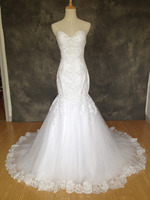 BK001 Vestido de Noiva Actual Image Mermaid Wedding Dresses Beading Lace Appliques Bridal Gowns Lace 2017 Robe De Mariage