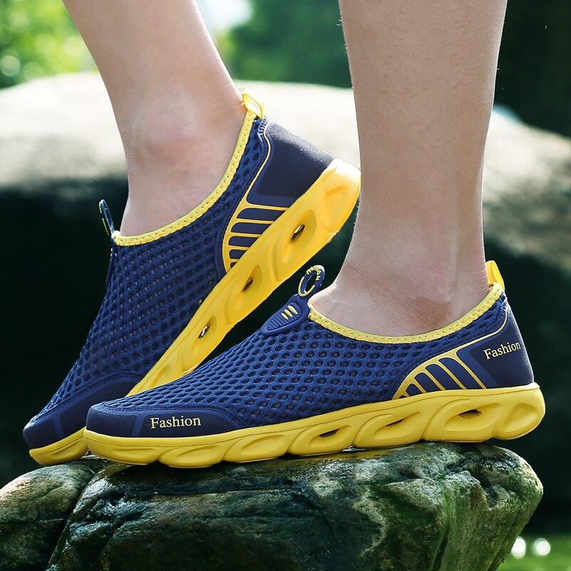 MAISMODA de verano de los hombres/mujeres transpirable luz peso zapatillas de deporte de malla saludable zapatos para caminar al aire libre antideslizante Deporte Zapatos 36- 45