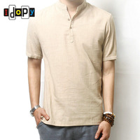 Summer Men S Linen Cotton Blended Short Sleeve Shirt Mandarin Collar Breathable Comfy Traditional Chinese Style