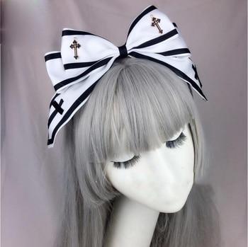 Japanese Style Gothic Girls Black White Cross KC Headband Lolita Female Bowknot Headwear Cosplay Punk Hair band Hair Accessories