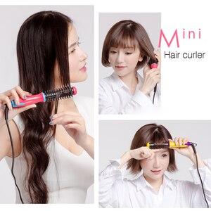 Image 2 - NOVUS Ceramic Curling Iron Brush Travel Mini Hair Curler Roller Comb Electric Hairbrush Styler Women Styling Tools 220V