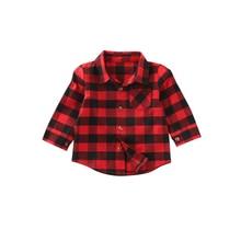 От 1 до 7 лет Демисезонный Active из хлопка для новорожденных одежда для малышей Обувь для мальчиков Повседневное с длинным рукавом отложной воротник красный плед Рубашки для мальчиков Топы корректирующие