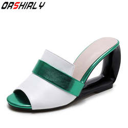 Orshirly/большие размеры; классические женские босоножки на танкетке; Модная элегантная летняя повседневная обувь из натуральной кожи для