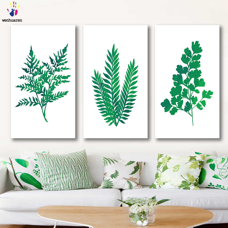 DIY colorings pictures by numbers with colors Green leaf plant fresh style picture drawing painting by numbers framed Home