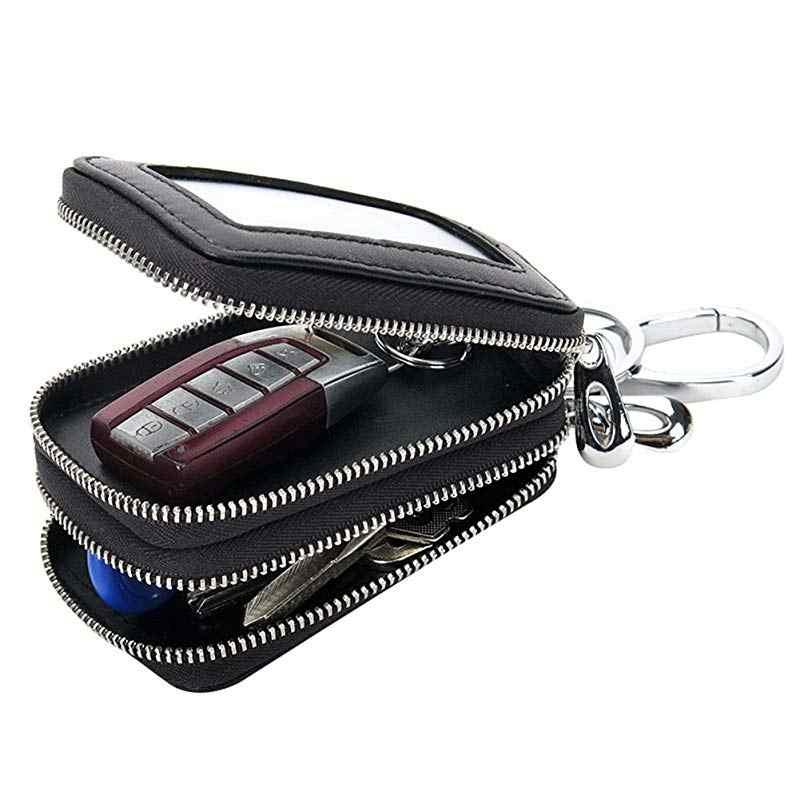 Key Holder Organizer Wallet Case Genuine Leather Car Keychain Bag Double Zipper
