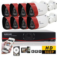 SUNCHAN HD 8CH CCTV System 1 3MP 720P Real Time Surveillance AHD DVR KIT 8PCS Outdoor