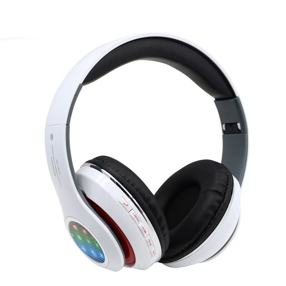 JRGK Bluetooth Headphone with Microphone Support TF Card Play Foldable LED light FM Radio Wireless Headset for Xiaomi phone 30w high power bluetooth speaker portable subwoofer play tf card and usb wireless microphone and fm radio can add dc12v column