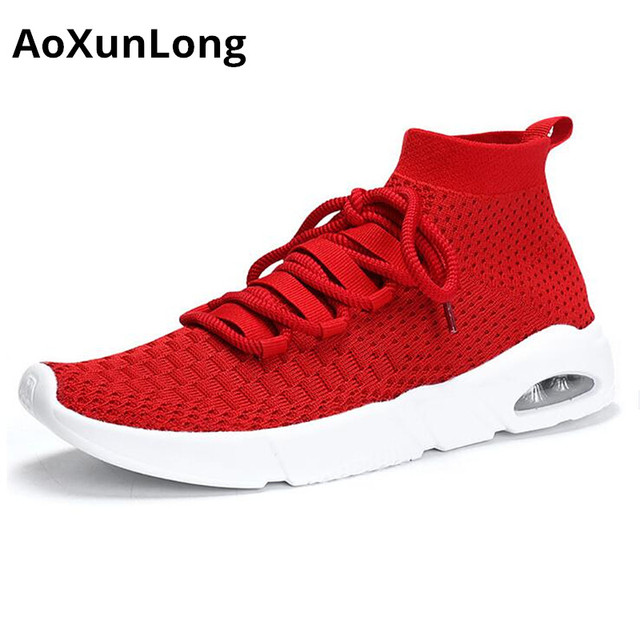 reputable site 3c9ef 7a834 AoXunLong New Men s Sneakers Breathable Air Sport Shoes Men s Outdoor  Running Shoes Tennis Trainer Red Black Big Size 39-46 Hot