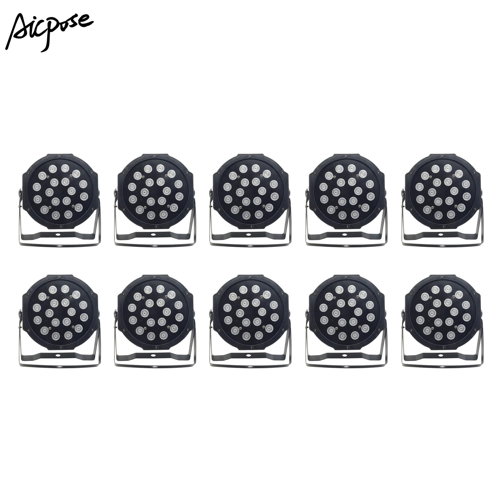 10pcs/lots 18pcs 3w Led Lamp Beads 18x3 Led Par Lights RGB 3in1 Flat Par Led Dmx512 Disco Lights Professional Stage Dj Equipment