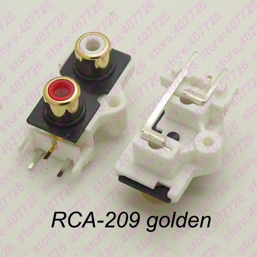 (2PCS/PACK) PCB Mount 1 Position Stereo Audio Video Jack RCA Female Connector TWO Hole (W+R) RCA-209 Golden