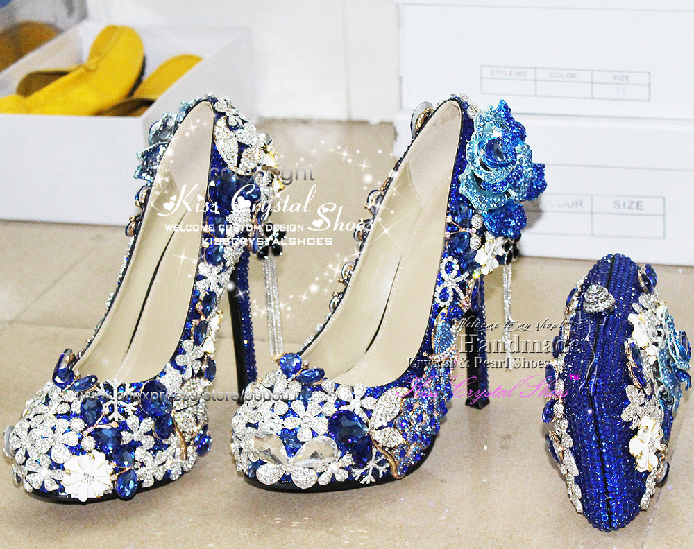 d42b354fc52 royal blue pumps shoes New Customized Amazing rhinestone wedding shoes high  quality italian women shoes and matching bag-in Women s Pumps from Shoes on  ...