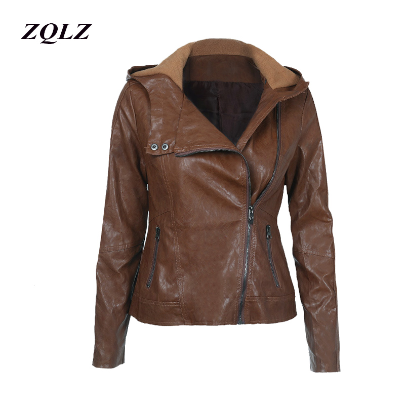Zqlz Spring Motorcycle Pu   Leather   Jacket Women Casual Hoodies Basic Coats Plus Size Bikers Jackets Outerwear Coats Female 2019