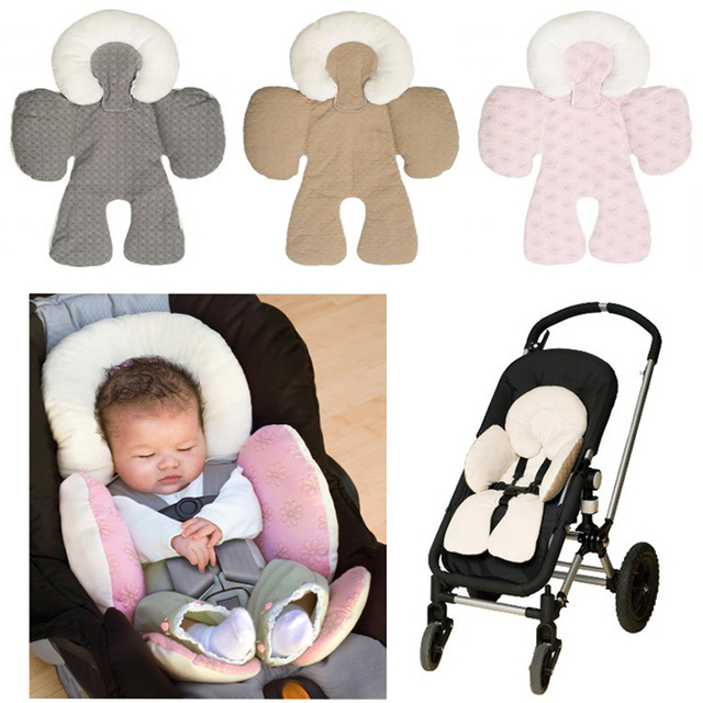Newborn Baby Stroller Cushion car seat accessories Head Body Support Carriage thermal Pad Mat Dual Sided Use Safety Rattle