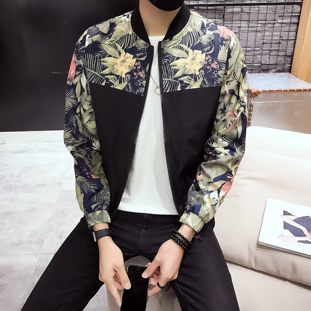 5bae2d90a US $26.33 39% OFF Fashion Style Bomber Jacket Men Floral Print Mens Jackets  and Coats Spring Summer Thin Male Jacket Windbreaker Baseball Coat Man-in  ...