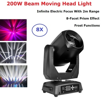 цена на 8Pcs Lights + 1PCS Flight Case Led 200W Beam/Spot Light DMX512 Moving Head Light DJ /Bar /Party /Show /Stage Lighting Effect