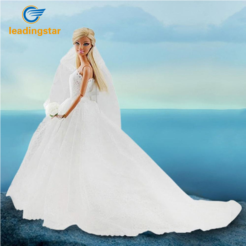 LeadingStar New  Long Dress Wedding Dress for Barbie Doll Princess Evening Party Clothes Wears Outfit for Barbie Doll zk35 hatber optimum barbie the pearl princess 20627