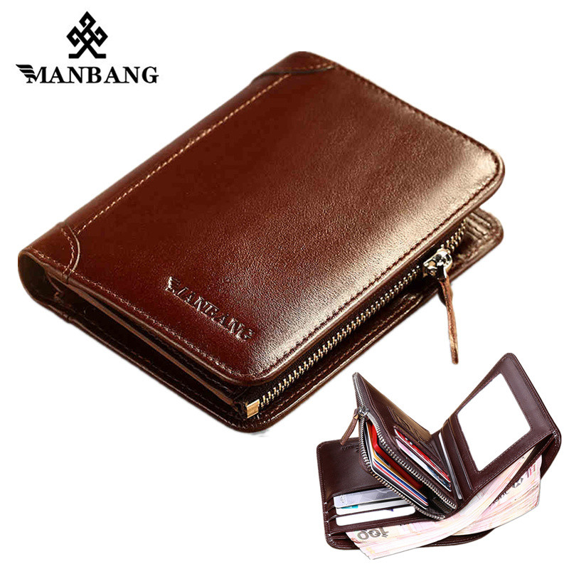 ManBang Wallet Genuine Leather Men Wallets Short Male Purse Card Holder Wallet Men Fashion Purse Billfold Zipper Coin Pocket new wallet short men wallets genuine leather male purse card holder wallet fashion zipper wallet coin purse pocket bag free ship