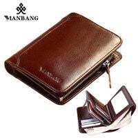ManBang Wallet Genuine Leather Men Wallets Short Male Purse Card Holder Wallet Men Fashion Purse Billfold