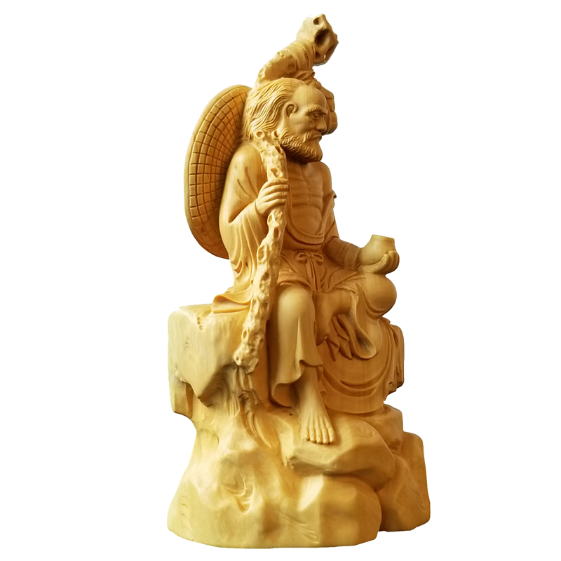 18CM Dharma Zen Italian Lohan Chinese Culture Craft Decoration Character Sculpture Hand wood ornament