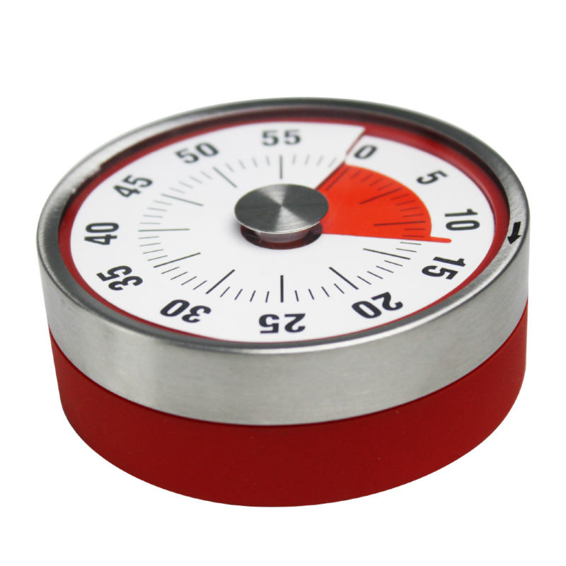 Baldr Kitchen Timer Clock Countdown 60 Minutes Alarm 8cm Mechanical Dial Magnet Stainless Steel Round Cooking Reminder Counter egg shaped stainless steel mechanical twist timer 60 minutes