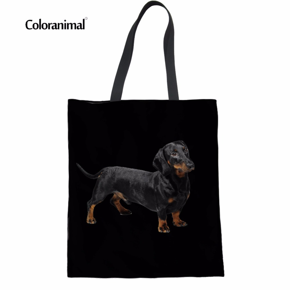 cdabc5009859 Coloranimal Tote Bags Women Eco-friend Handbags Cute Dachshund Dog Women  Foldable Shopping Shoulder Bags Linen Beach Canvas Pack