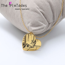 925 Sterling Silver Photo Engraved Necklace Personalized Your Deal Photo Gold Plate Custom Picture Necklace Dog Image necklace 925 sterling silver custom photo