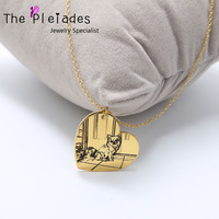 925 Sterling Silver Photo Engraved Necklace Personalized Your Deal Photo Gold Plate Custom Picture Necklace Dog Image