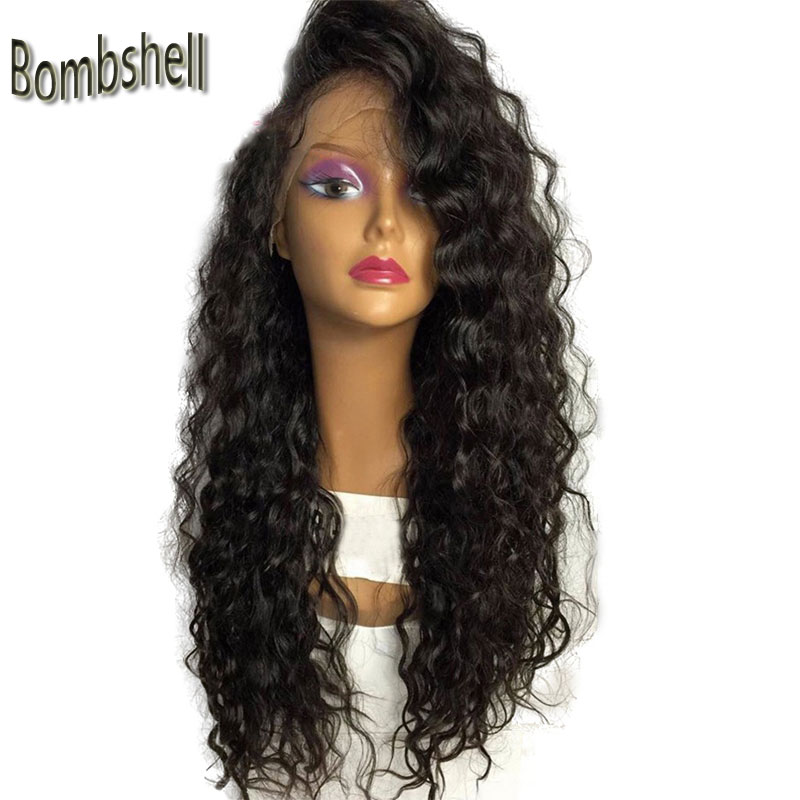 Natural 180 Heavy Density Bouncy Curly Glueless High Temperature Fiber Hair Synthetic Lace Front Wig Natural