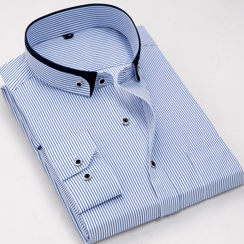 Fashion Stand Double Collar Slim Fit Non-iron Striped Business Men Dress Shirts Long Sleeve Party Meeting Male Tops