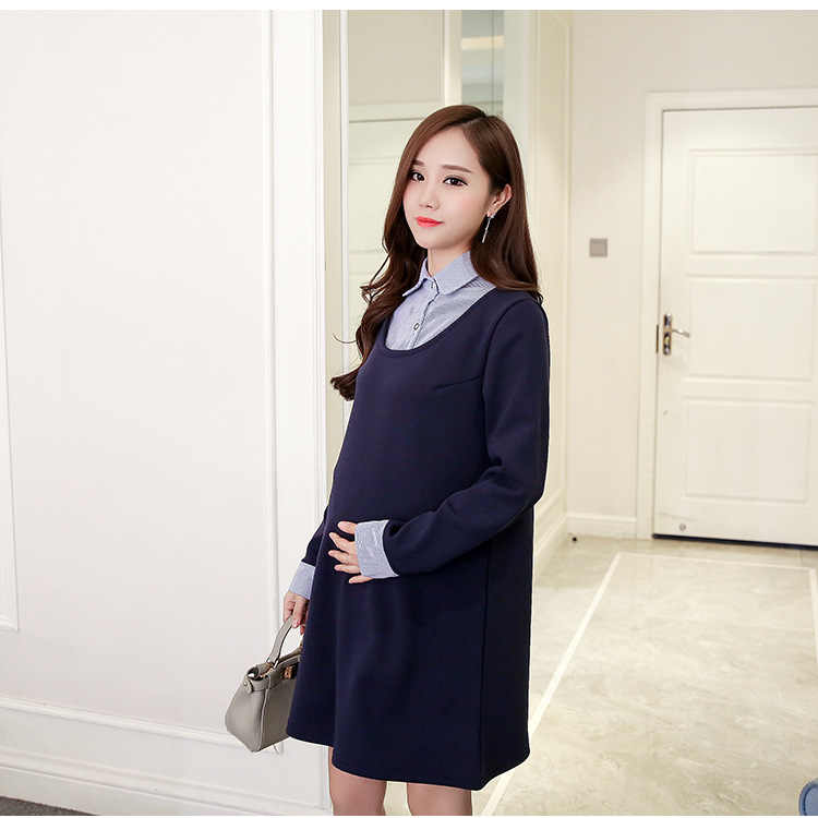 50949c6496698 ... Winter plus velvet thickening maternity dress Clothes autumn One Piece  Dress Loose Stylish Dress for Pregnant