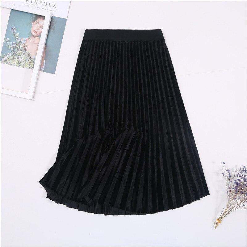 Женская винтажная осенне-зимняя бархатная юбка с высокой талией, элегантные сексуальные обтягивающие черные плиссированные юбки, женские макси юбки, женские s - Цвет: 6 Black