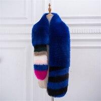 Women long fuax fox fur scarf new arrival patchwork colored fox fur warm scarf real photo shot