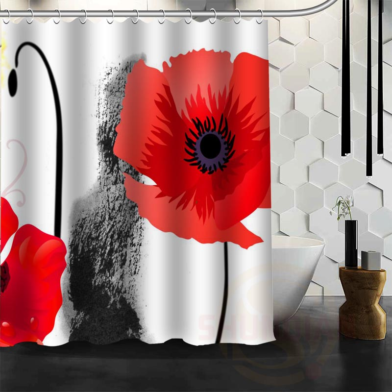 Best Nice Custom Poppies Flowers Poppy Shower Curtain Bath Curtain Waterproof