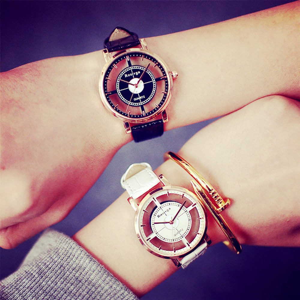 Lovers Unique Hollow-out Dial Watches Men Fashion Leather Si