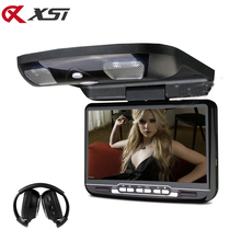 XST 9 inch Car Roof Mount Flip Down Monitor LED Digital Screen DVD Player IR/FM Transmitter/USB/SD/MP5 Support 32 Bits Game
