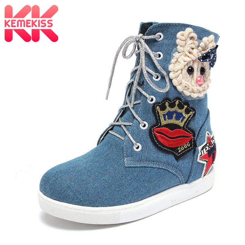 KemeKiss Women Round Toe Mid Calf Boots Woman New Design Cartoon Denim Short Boot Fashion Lace Up Flat Shoes Footwear Size 34-43