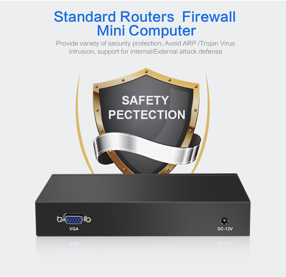 4*Ethernet RJ-45 Lan Ports Mini PC Celeron J1800 Dual Cores 2.41Ghz Pfsense Firewall Router Network Security Desktop Windows 10