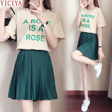 YICIYA Plus size short top and skirt two 2 pcs piece set for big female oversized summer 2019 Pleated green large clothing