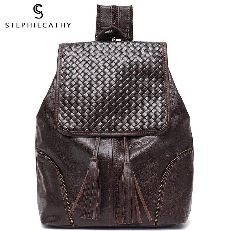 Sac à dos en cuir italien SC pour femmes Vintage Style rétro rabat cordon sacs à bandoulière vie scolaire voyage vacances sac à dos