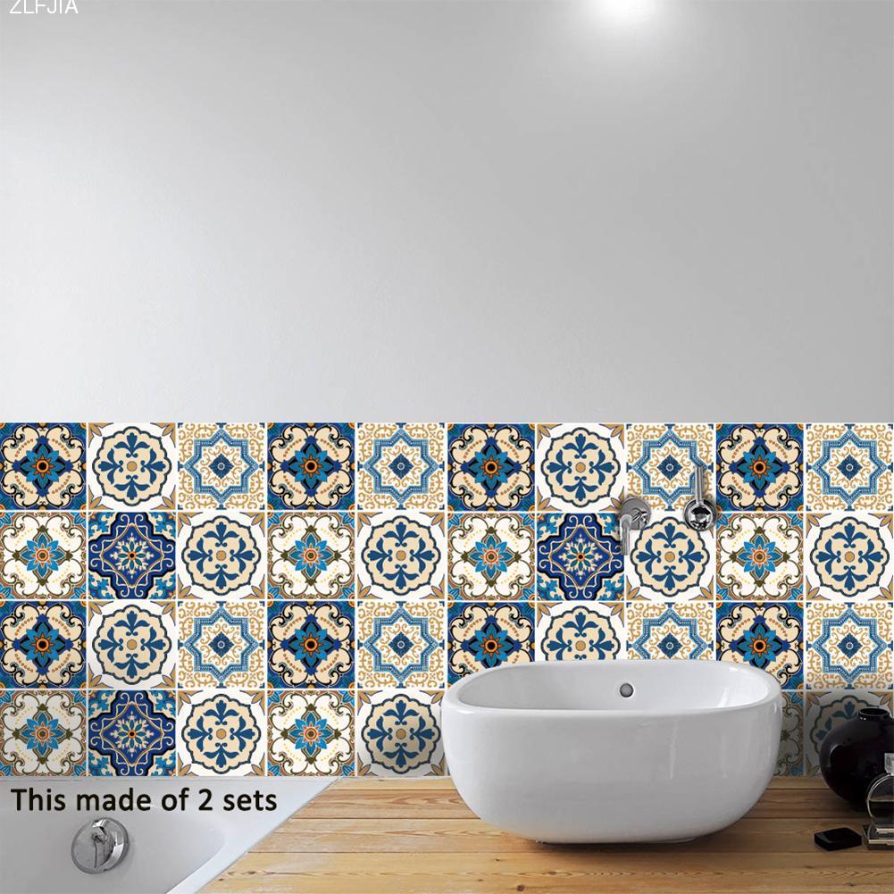 10pcs/set Moroccan Style Ceramic Tile Wall Sticker Art Decor Living ...
